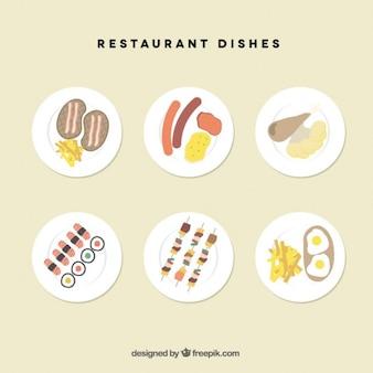 Colección de platos de restaurante