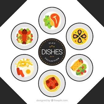 Colección de platos sabrosos de restaurante