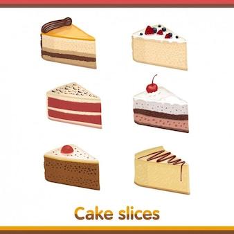 Colección de porciones de tarta
