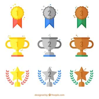 colección de premios de oro y plata plana