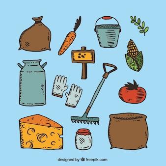 Colección de productos de granja dibujados a mano