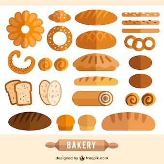 Colección de productos de panadería