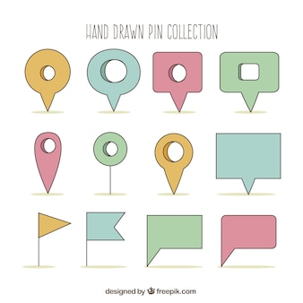 Colección de punteros dibujados a mano en colores pastel