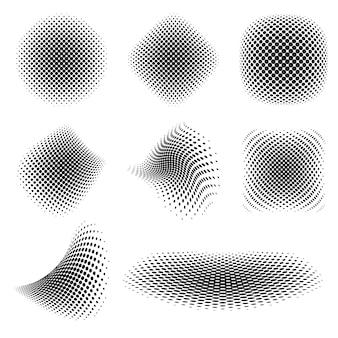 Colección de puntos de medio tono negros abstractos
