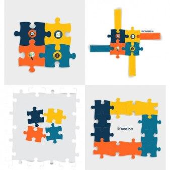 Colección de puzzle infográfico