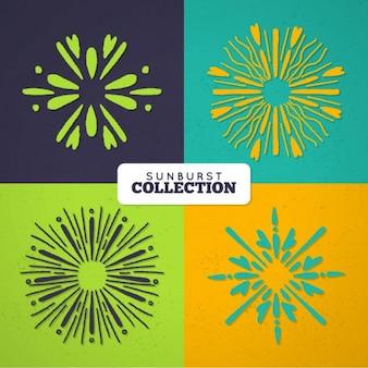 Colección de rayos de sol de colores