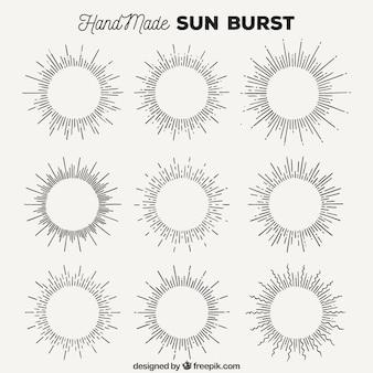 Colección de rayos de sol hechos a mano
