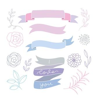 Colección de ribbons dibujados a mano