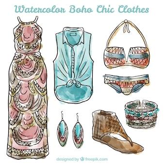Colección de ropa de estilo boho estilosa en acuarelas