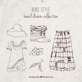 Colección de ropa estilosa de estilo boho