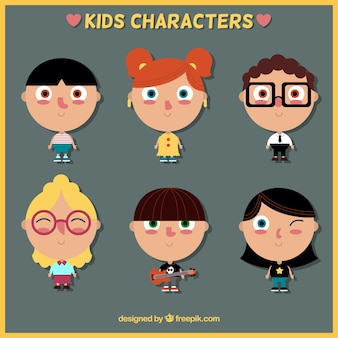 Colección de seis avatares adorables para el día de los niños