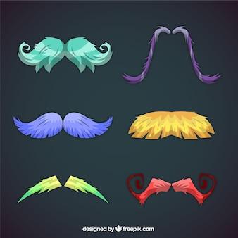 Colección de seis bigotes coloridos