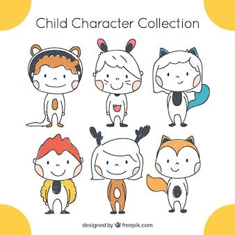 Colección de seis niños divertidos dibujados a mano
