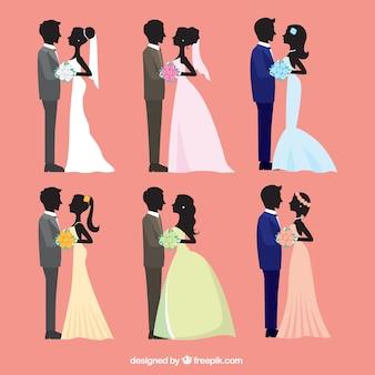Colección de seis parejas de boda