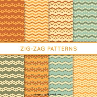 Colección de seis patrones en zig-zag con diferentes colores