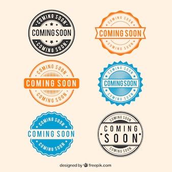 Colección de seis sellos de próximamente redondos
