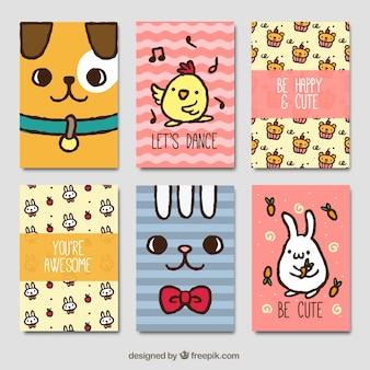 Colección de seis tarjetas de animales dibujadas a mano