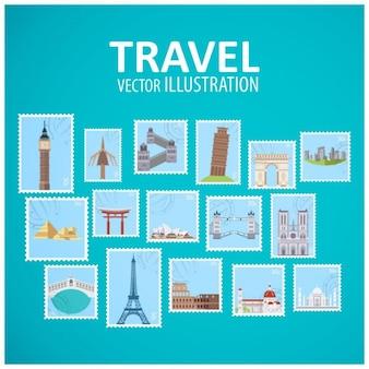 Colección de sellos de sitios emblemáticos del mundo