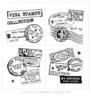 Colección de sellos de visado negros