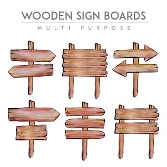 Colección de señales de madera en acuarela