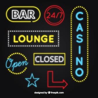 Colección de señales de neón de bares y casino