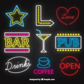 Colección de señales de neón de bares