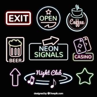 Colección de señales de neón