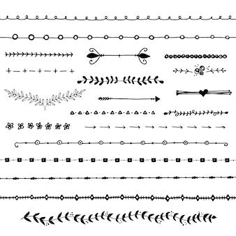 Colección de separadores dibujados a mano