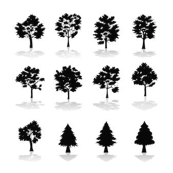Colección de siluetas de árboles