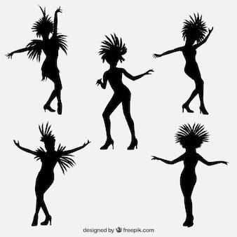Colección de siluetas de bailarinas brasileñas