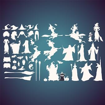 Colección de siluetas de brujas