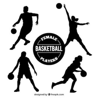 Colección de siluetas de jugadoras de baloncesto