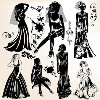 Colección de siluetas de mujeres