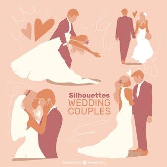 Colección de siluetas de parejas de boda