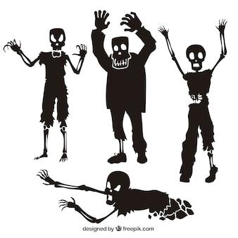 Colección de siluetas de zombies