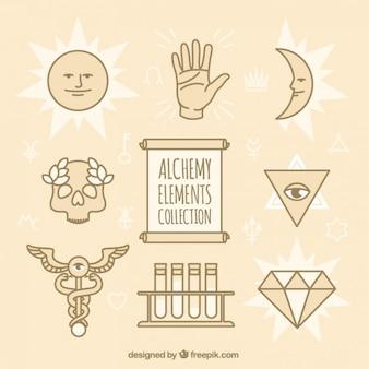 Colección de símbolos de alquimia en estilo lineal