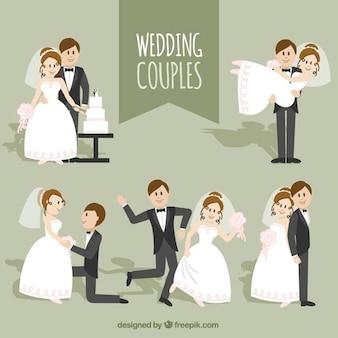 Colección de simpáticas parejas de boda