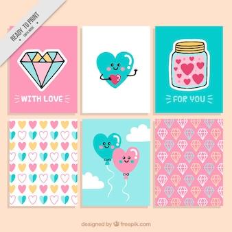 Colección de simpáticas tarjetas de san valentín con corazones y diamantes