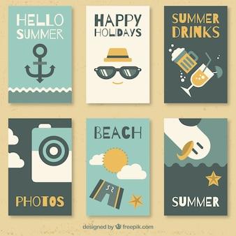 Colección de simpáticas tarjetas de verano