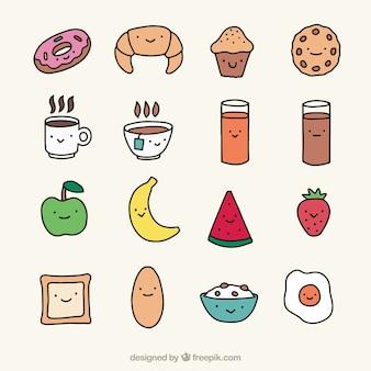 Colección de simpáticos alimentos