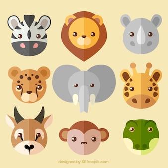Colección de simpáticos avatares de animales salvajes