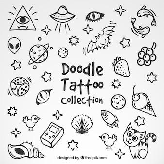 Colección de simpáticos bocetos de tatuajes