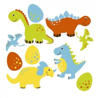 Colección de simpáticos dinosaurios