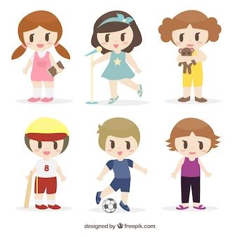 Colección de simpáticos niños dibujados y actividades