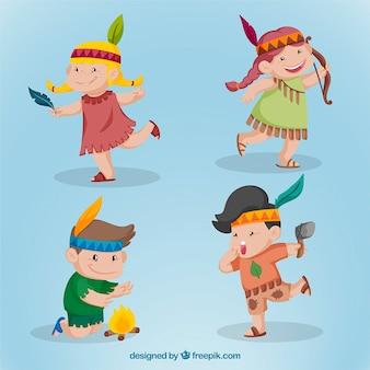 Colección de simpáticos niños indios