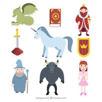 Colección de simpáticos personajes de cuentos de hadas