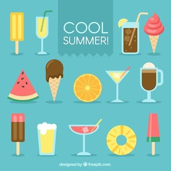 Colección de snacks de verano