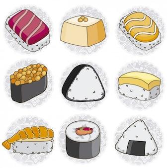 Colección de sushi dibujados a mano