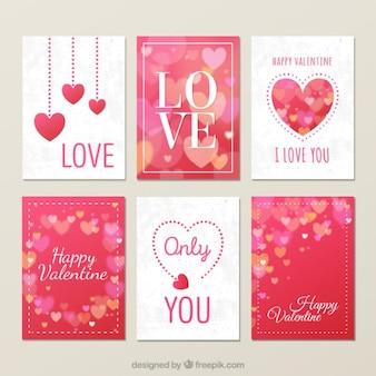 Colección de tarjetas adorables de corazones
