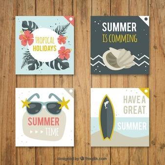 Colección de tarjetas bonitas con temática de verano